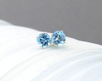 Swiss Blue Topaz Earrings Tiny Silver Earrings Silver Post Earrings Silver Stud Earrings Blue Earrings 4mm December Birthstone Gift for Her