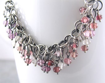 ON SALE 25% OFF Mulberry Shaggy Loops Necklace Iii - Multi Spinel, Sterling Silver and Chainmail