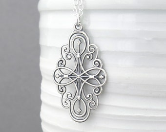 Sterling Silver Necklace Filigree Necklace Compass Rose Jewelry Long Silver Necklace Ornate Necklace Sterling Silver Jewelry - Modern Edge