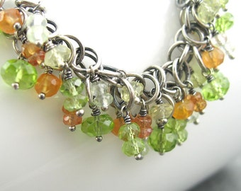 Chainmail Necklace Sterling Silver Peridot Lemon Quartz Gemstone Handmade Designer Jewelry - Early Fall Foliage OOAK
