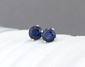Blue Sapphire Earrings Sapphire Stud Earrings Tiny Stud Earrings Gemstone Post Earrings September Birthstone Jewelry Holiday Gift for Her