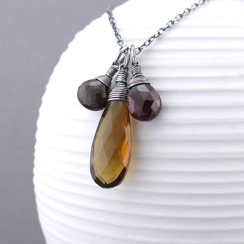 Simple Gemstone Necklace Charm Jewelry Long Gemstone Necklace Brown Necklace Boho Necklace Unique Minimalist Jewelry Ana