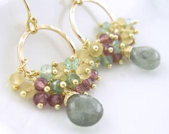 Handmade Gemstone Cluster Earrings Moss Aquamarine Citrine Green Amethyst Plum Quartz 14K Gold Fill - Miriam OOAK