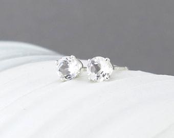 White Topaz Stud Earrings Tiny Stud Earrings Silver Stud Earrings Gemstone Post Earrings Wife Gift Valentines Day Gift for Her