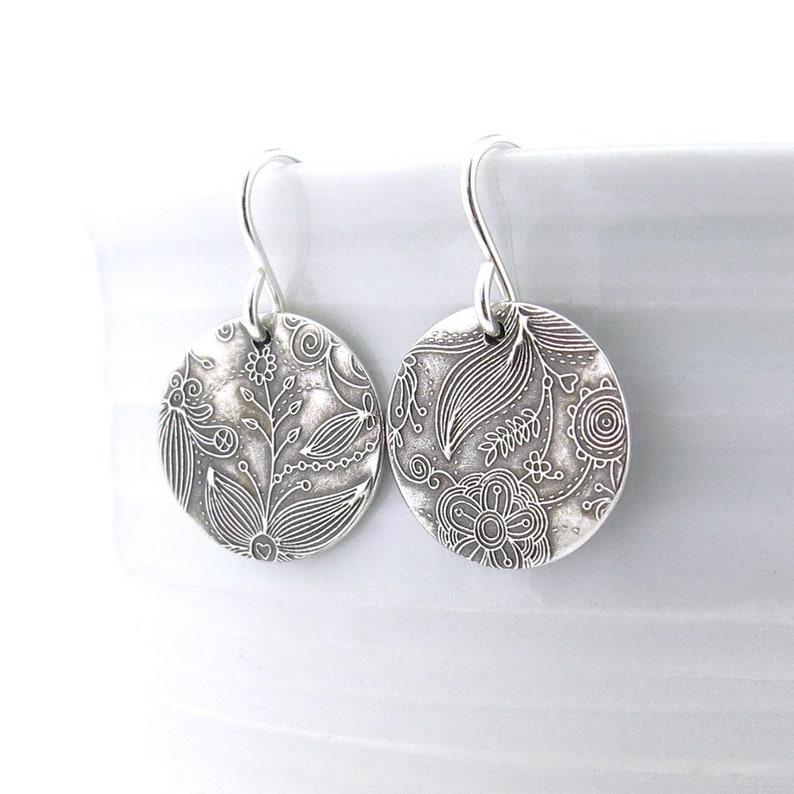 Small Silver Earrings Sterling Silver Jewelry Silver Dangle image 0