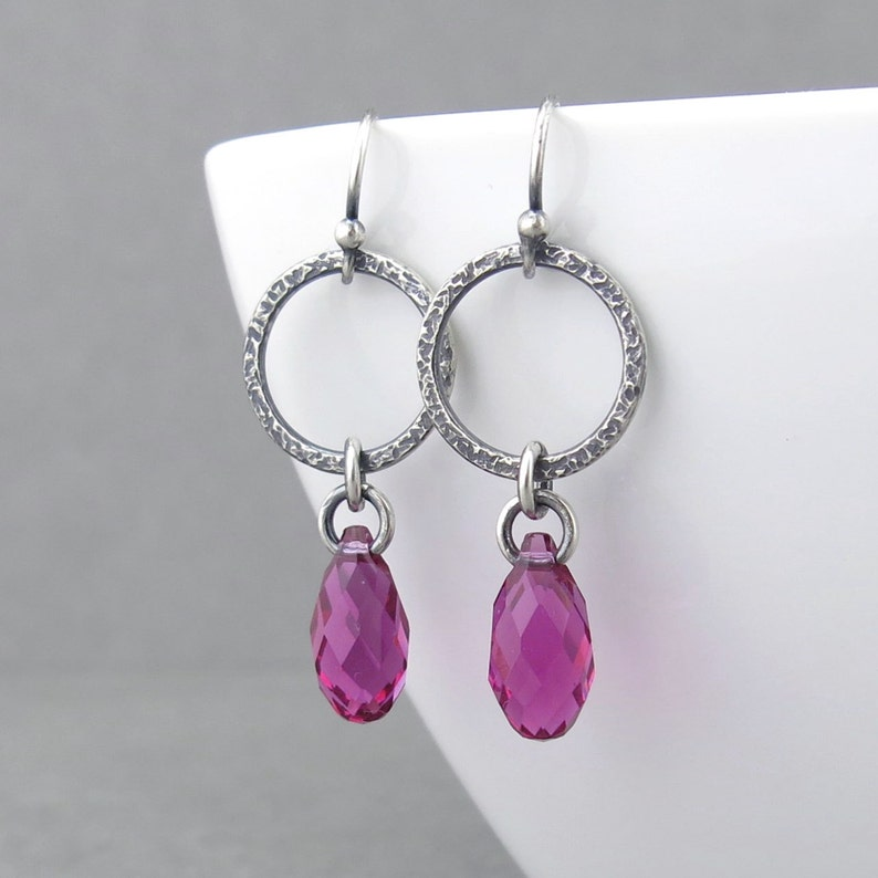 e63a3673d914e Hot Pink Crystal Earrings Rustic Earrings Crystal Jewelry Simple Drop  Earrings Rustic Jewelry Gift for Her Silver Jewelry - Annabelle