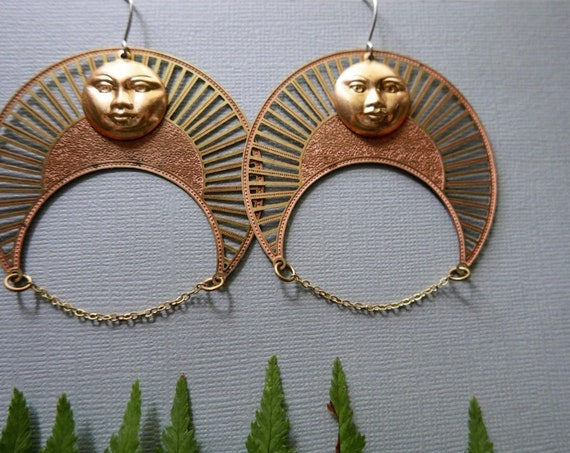 Venus Rising // extra large brass sun earrings