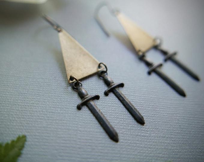 Rusty Dagger // double knife earrings