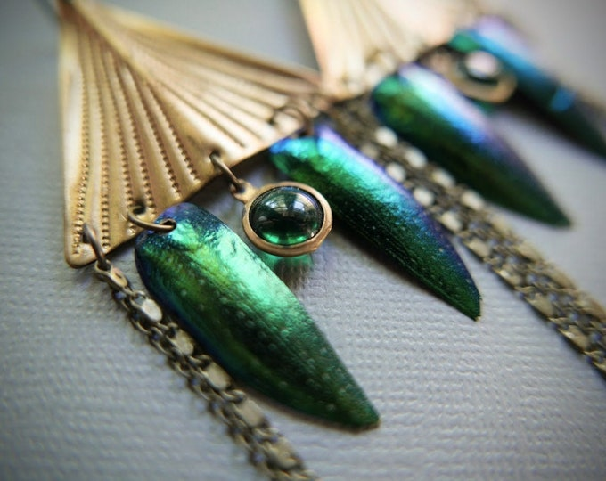 The Hidden Realm // long triangle earrings with beetle wings and glowing green orbs