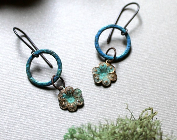 Picking Wildflowers // verdigris flower earrings with blue brass circles