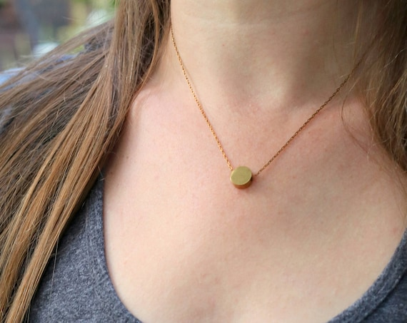 Full Moon // brass circle necklace