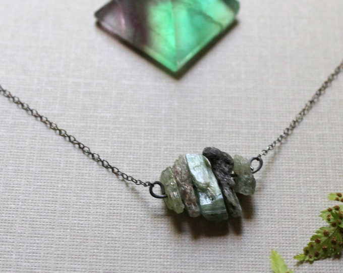 Grassroots // raw green kyanite necklace