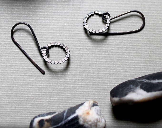 Pebbles // small beaded circle earrings in oxidized sterling silver