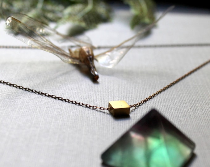 Squared // vintage brass square necklace