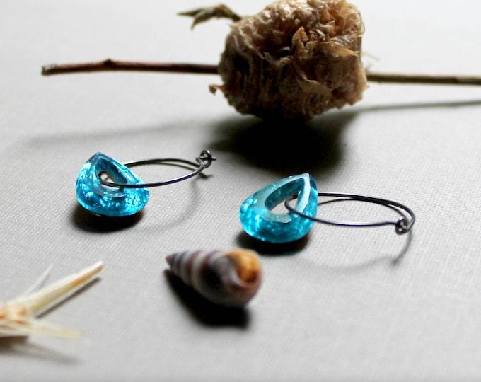 Seafarer- aqua blue crystal teardrop earrings - just gorgeous!