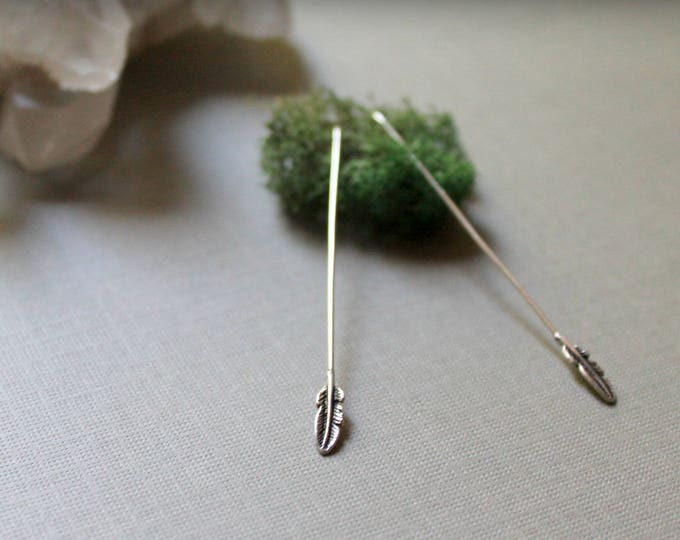 Wee Feathers // tiny sterling silver feather drop earrings - so cute!