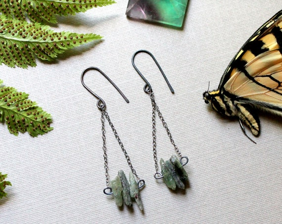 Grassroots // raw green kyanite earrings