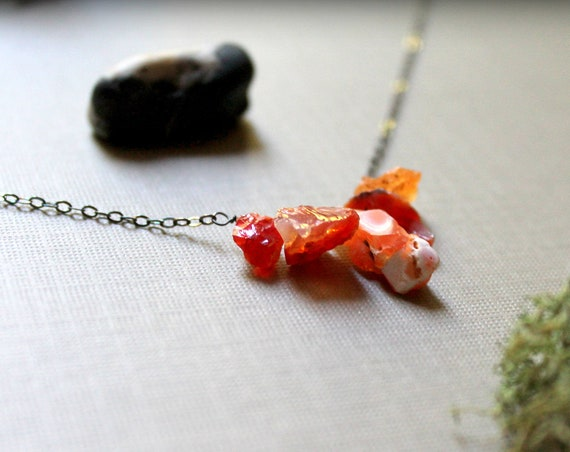 Fire Keeper // raw fire opal necklace