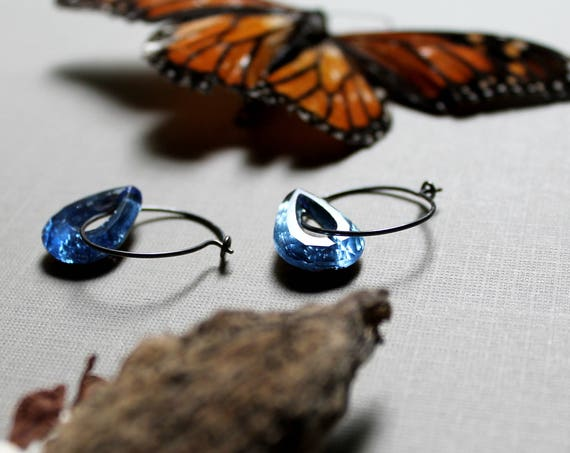 Sky Catcher // blue crystal teardrop earrings