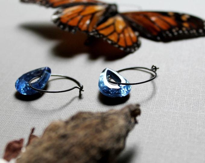 Sky Catcher // blue crystal teardrop earrings