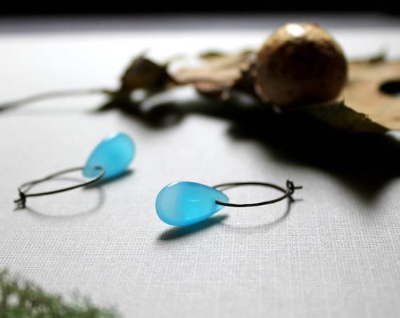 Summer Storm // sky blue glass earrings