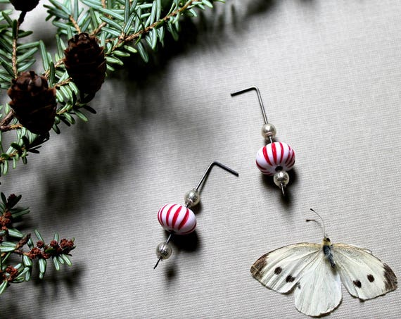 Peppermint // vintage lucite and mercury glass earrings