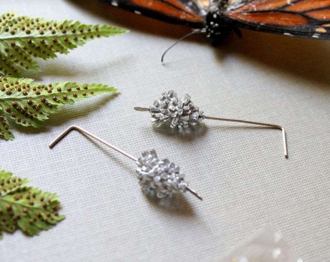 Winter Sprite // silver lucite ice crystal earrings