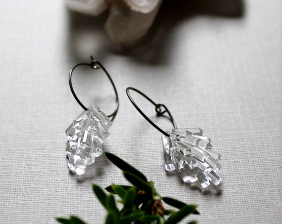 Frosty Grove // clear lucite pine needle earrings