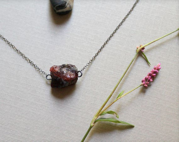 Indian Summer // raw garnet necklace