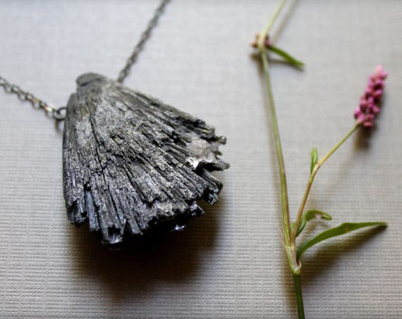 Night Keeper // large black kyanite fan necklace - choose your crystal!