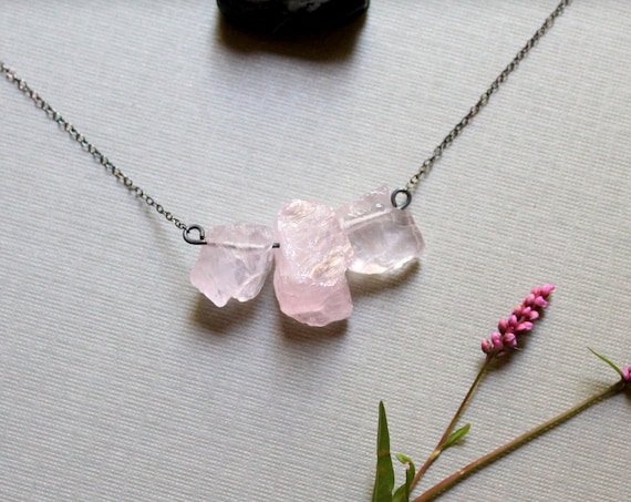 Spring Goddess // raw rose quartz necklace