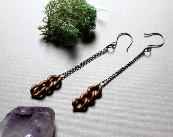 Chained // large vintage brass chain earrings