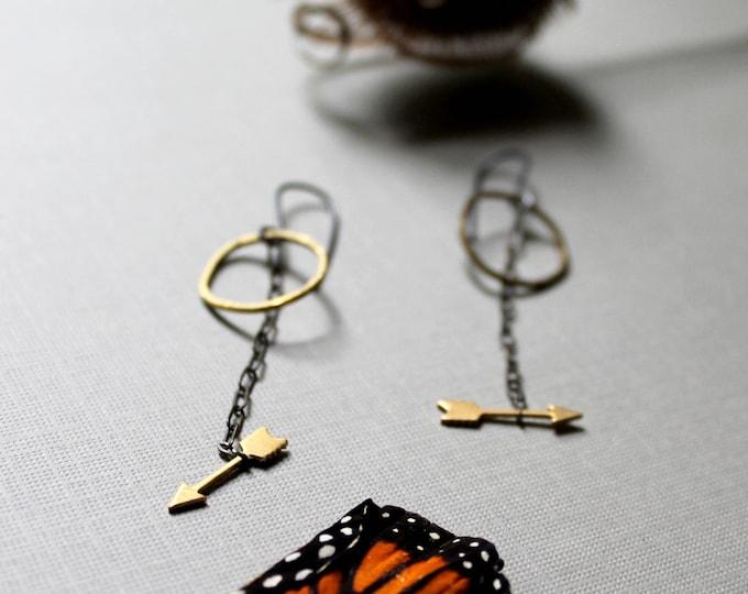 Huntress // raw brass arrow and moon earrings