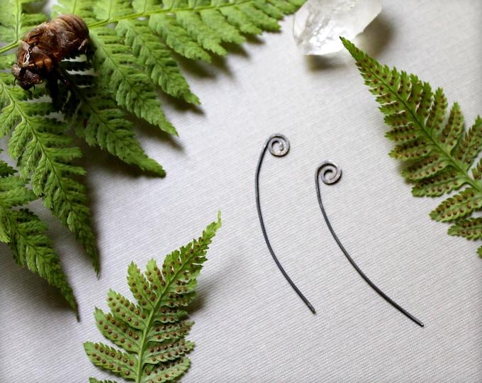 Fiddlehead // sterling silver forest fern earrings