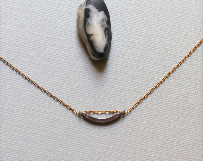 Tiny Arch // vintage copper crescent necklace