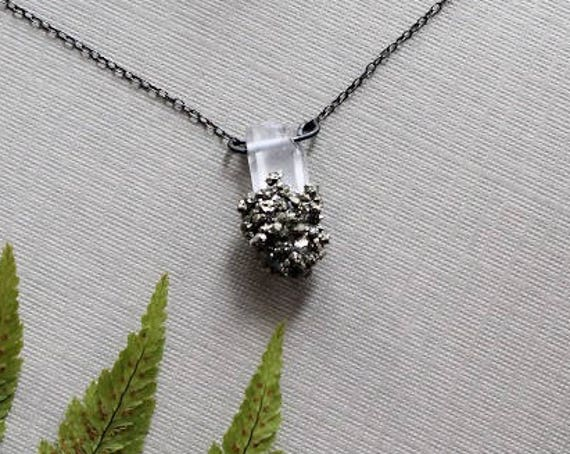 Stardust // pyrite encrusted raw clear quartz necklace