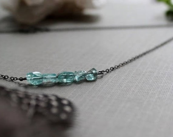 The Seer // aqua blue apatite necklace