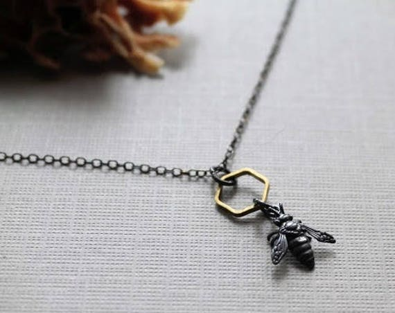 Queen Bee // tiny sterling silver honey bee necklace