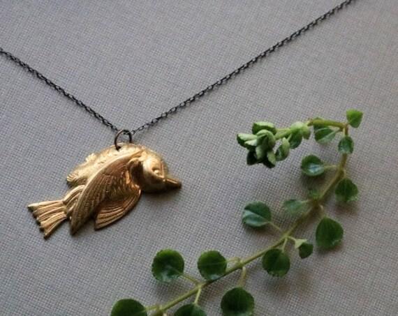 Fallen // dead bird necklace