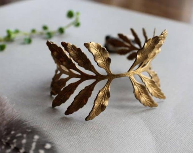 Fern Frond // vintage brass leaf bracelet