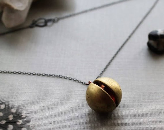 Orb // brass ball locket necklace