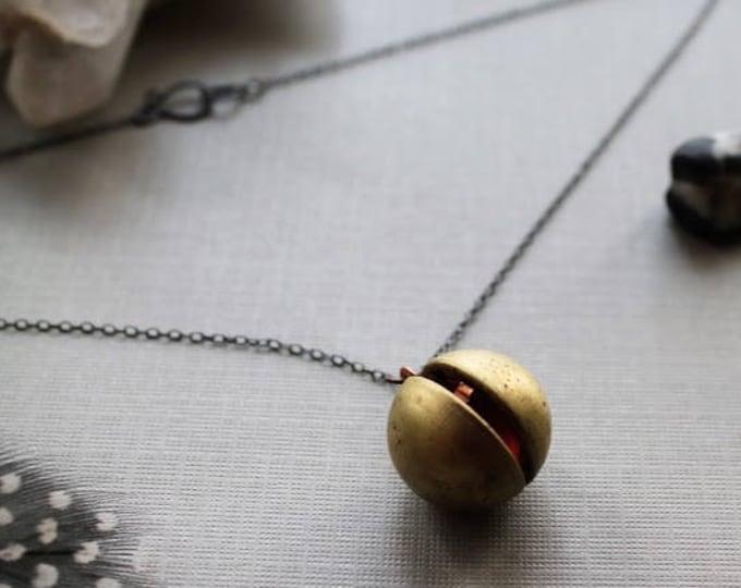 Orb // brass ball locket necklace