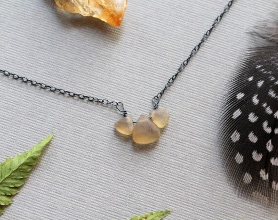 Buttercup // tiny citrine teardrop necklace