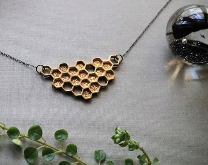 Hive // brass honeycomb necklace