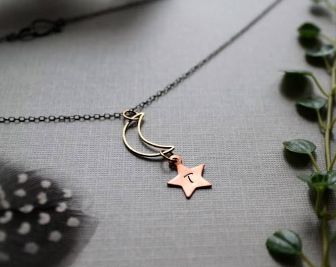 My Moon and Star // personalized moon and star necklace