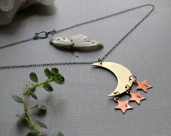 Moonchild // custom initial celestial moon necklace - you can choose 1-3 stars!
