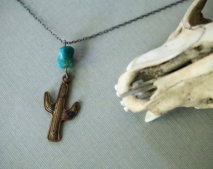 Sanguaro // vintage cactus and real turquoise necklace