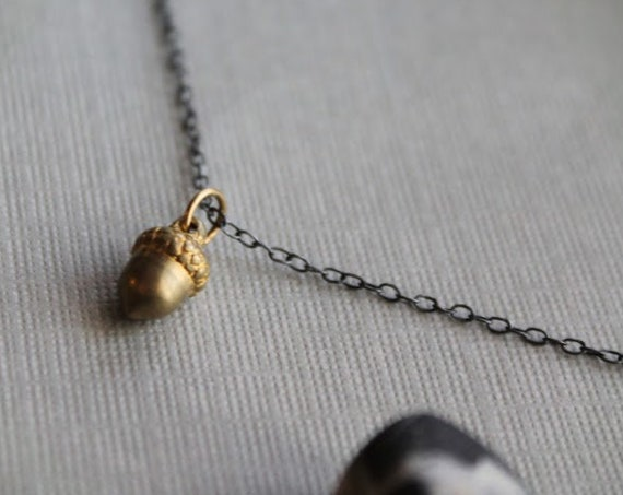 Wee Acorn // tiny brass acorn necklace
