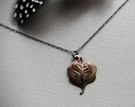Enchanted Woods // vintage copper leaf necklace