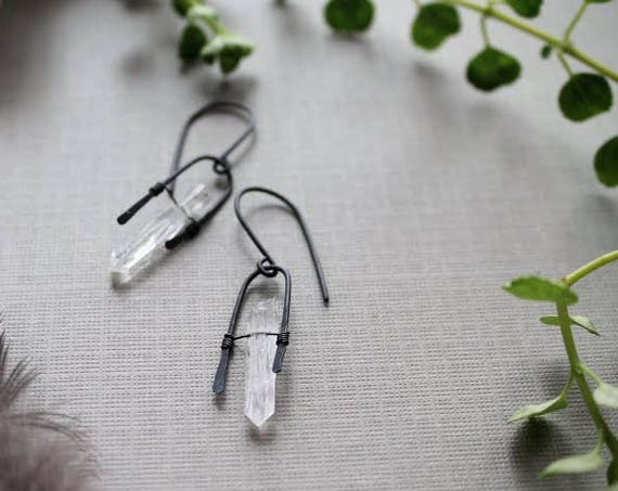 Lucky // raw quartz and oxidized sterling silver earrings